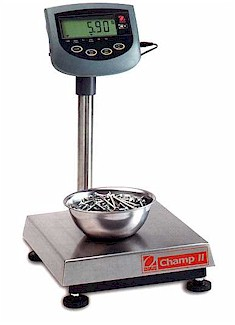 "All Ohaus Champ II industrial bench scales are certified ""Legal for Trade"": Seven different models to choose from with capacities from 15 to 300 kilograms (30 to 60 pounds)."